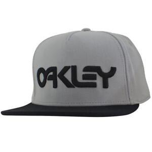Oakley Typhoon Cap Grey Large Black Logo Snapback Adjustable Baseball Hat