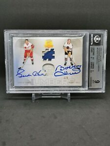 2009-10 The Cup Honorable Numbers Dual #HN2HH Bobby Hull/Gordie Howe/9 auto BGS9