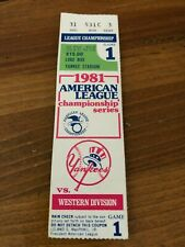 1981 Championship Series Game 1 Ticket NY Yankees Oakland A's Graig Nettles MLB