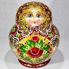 10 PIECES RUSSIAN TRADITIONAL MATRYOSHKA BABUSHKA BEAUTIFUL NESTING DOLLS 10PCS