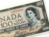 1954 Devils Face Canada 100 Dollar Circulated AJ Beattie Coyne Banknote S919