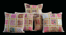"SET OF 5 INDIAN HANDMADE ZARI WORK 16X16"" COTTON CUSHION COVER ETHNIC ART df"