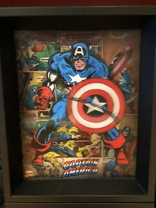 """Captain America Lenticular 3-D Picture in wooden frame 11""""x9.25""""x2"""" Marvel"""