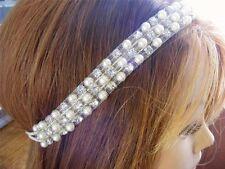 $15 LULU Headband Rhinestone & Faux Pearl Beaded Organza Stretch Adjustable