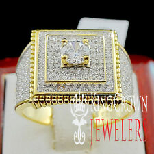 GENUINE STERLING SILVER 14K YELLOW GOLD FINISH LAB DIAMOND MENS PINKY RING BAND