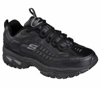 Skechers Black Shoes Men Sport Train Soft Leather Sneaker Comfort Athletic 50081