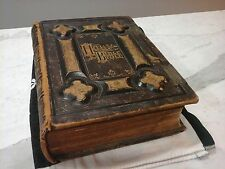 Antiquarian Bible 1800s Jamieson Glasgow Steel Engravings Collectible Large Book