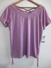 JONATHAN MARTIN Womens Purple Blouse Size L Lace Insert V-neck Tee Shirt Top