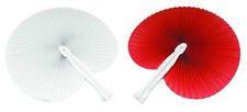 50 pezzi Ventagli 25 bianchi 25 rossi bomboniera per matrimoni,comunioni,feste