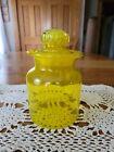 "Vintage Takahashi Japanese Studio Art Glass Bright Yellow Apothecary Jar 7.5""t"