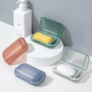 Portable Travel Soap Box Plastic with lid Sealed Storage Case Holder Container