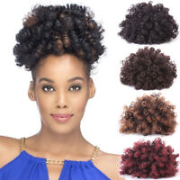 Afro Kinky Curly Ponytail Drawstring Chignon Hairpiece Clip in Hair Extensions