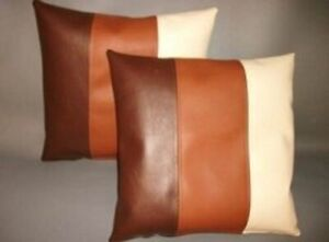 NOORA Pure leather cushion cover Multi Color, Throw Housewarming Pillow Cover
