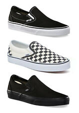 Vans Classic Slip-on Shoes - Mens Sneakers - Black, Checkerboard, All Black -NEW