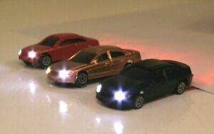 3 Modellautos Spur N beleuchtet LED für Modelleisenbahnanlagen 12-16V bahnwaren