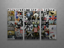 Banksy Mega Mix Gallery Wrapped Canvas Triptych Print. BONUS BANKSY WALL DECAL!