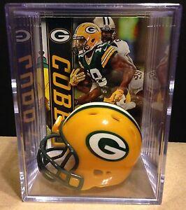 Green Bay Packers Players mini Football Helmet Shadowbox Rodgers, Cobb, Favre