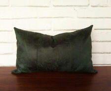 Dark green faux lether fabric lumbar pillow cover -1qty
