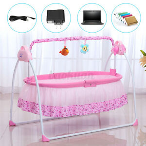 Auto Baby Swing Electric Crib Cradle Infant Bed Baby Cradle + Mat +12 Music Gift