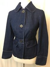 Ambition Womens Blazer Jacket Denim Fitted Button Down Pleated Back Hem Size S