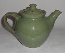Old Time Pottery Wheel Thrown Green Teapot w/Lid