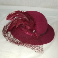 Miss Beirner Vintage Hat with Netting Lace & Feather Beautiful