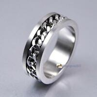 Classic Men's Silver Curb Chain Center Stainless Steel Band Ring 8mm No.18 UPC