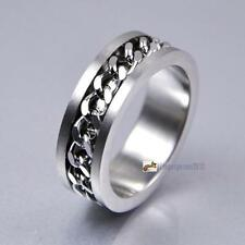 Classic Men's Silver Curb Chain Center Stainless Steel Band Ring 8mm No.18 GA