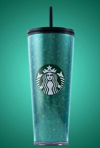 Starbucks NEW Holiday 2019 MERCURY GLITTER GREEN COLD CUP (24 OZ) w/ STRAW