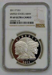 2011 P U.S. Army Proof Commemorative Silver Dollar NGC PF 69 Ultra Cameo