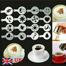 16 PCS Cappuccino Coffee Barista Stencils + Stainless Steel Chocolate Shaker UK