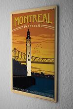 Tin Sign Deco City  Montreal Canada Clock Tower Bridge River