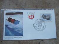 1964 Austria First Day Cover / FDC -IX Innsbruck Winter Olympics -- Toboggan
