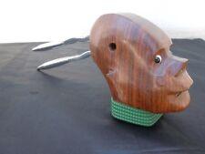 Casse noisette noix bois sculpté sculpture buste stylisé homme yeux en verre