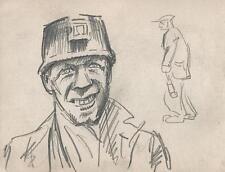 COAL MINING MINER PORTRAIT Pencil Drawing 1949