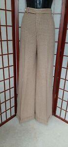 Women Ralph Lauren Black Label Brown Plaid High Waist Cuff Wide Leg Pant 12 Tall