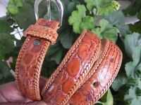 Genuine Artisan Handmade Dress Belt made of Authentic Alligator Caimán Leather