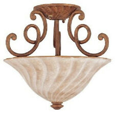 New Etruscan One-Light Flush Mount Ceiling Fixture Globe Gold w/ Whitewashed