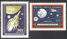 Mongolia 1959 espacio/cohete/Satélite/Luna/planetas 2v Set (n27856)