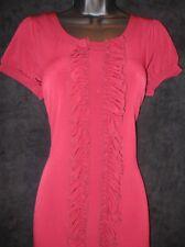 Allen B Schwartz ABS Red Burgundy Jersey Column Ruffle Social Dress XS 0 2 $69