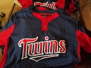 New Majestic Cool Base Twins Small Youth Baseball Little League 2-Button Jersey