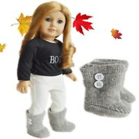 "Doll Clothes 18"" Boots Knit Grey Fits American Girl Dolls"