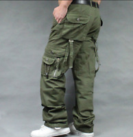 Mens Baggy Loose Fit Overalls Cargo work Cotton Pants Straight Leg Pants Big Sz