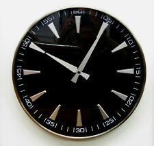 """HERMLE  NEW 13.75"""" CHROME FINISHED  NON CHIMING WALL CLOCK HM-31000"""