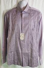 Brandolini Dress Shirt Size XL White Purple Long Sleeve