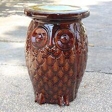 International Caravan-Brown Wise Old Owl Ceramic Garden Stool Opg-065-Bn New