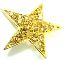 Rhinestone Gold Tone C Clasp Back Liz Claiborne Star Brooch Pin Bronze Colored