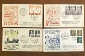 "4 SPAIN FDC COVERS, ""EXHIBITION"""