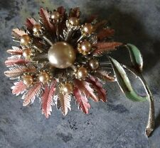 vintage pink enamel cream faux pearl layered flower brooch silver tone 50s -A372