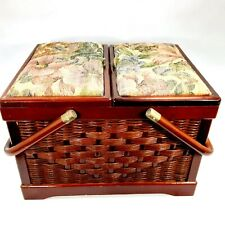 Wicker Sewing Basket w/ Floral Fabric Lid Picnic Basket Style w/ Lined Interior